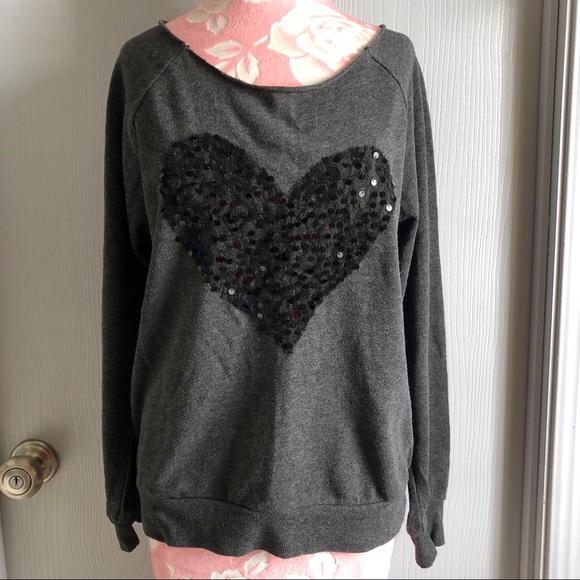 43df1524 Green Sleeved Tops | Wide Neck Black Sequin Heart Light Sweatshirt ...